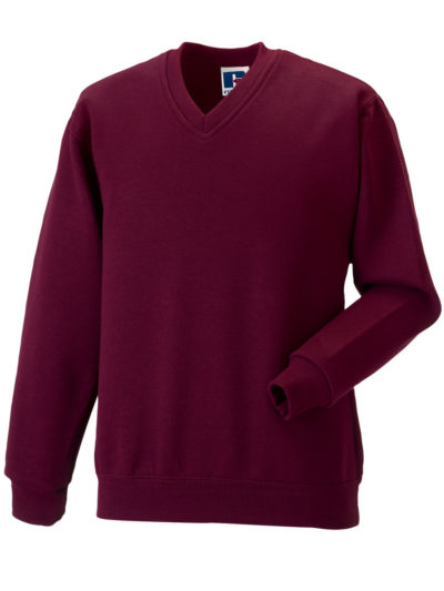 Russell Adult V-Neck Sweatshirt Burgundy