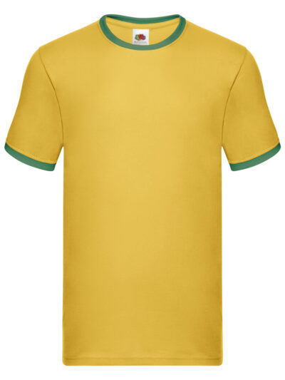 Fruit Of The Loom Men's Valueweight Ringer T-Shirt Sunflower and Kelly Green