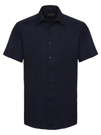 Russell Collection Men's Short Sleeve Easy Care Tailored Oxford Shirt Bright Navy