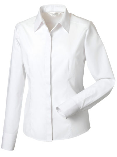 Russell Collection Ladies' Long Sleeve Polycotton Easy Care Fitted Poplin Shirt (924F)
