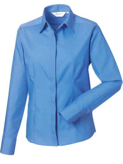 Ladies Long Sleeve Poly-Cotton Easy Care Fitted Poplin Shirt