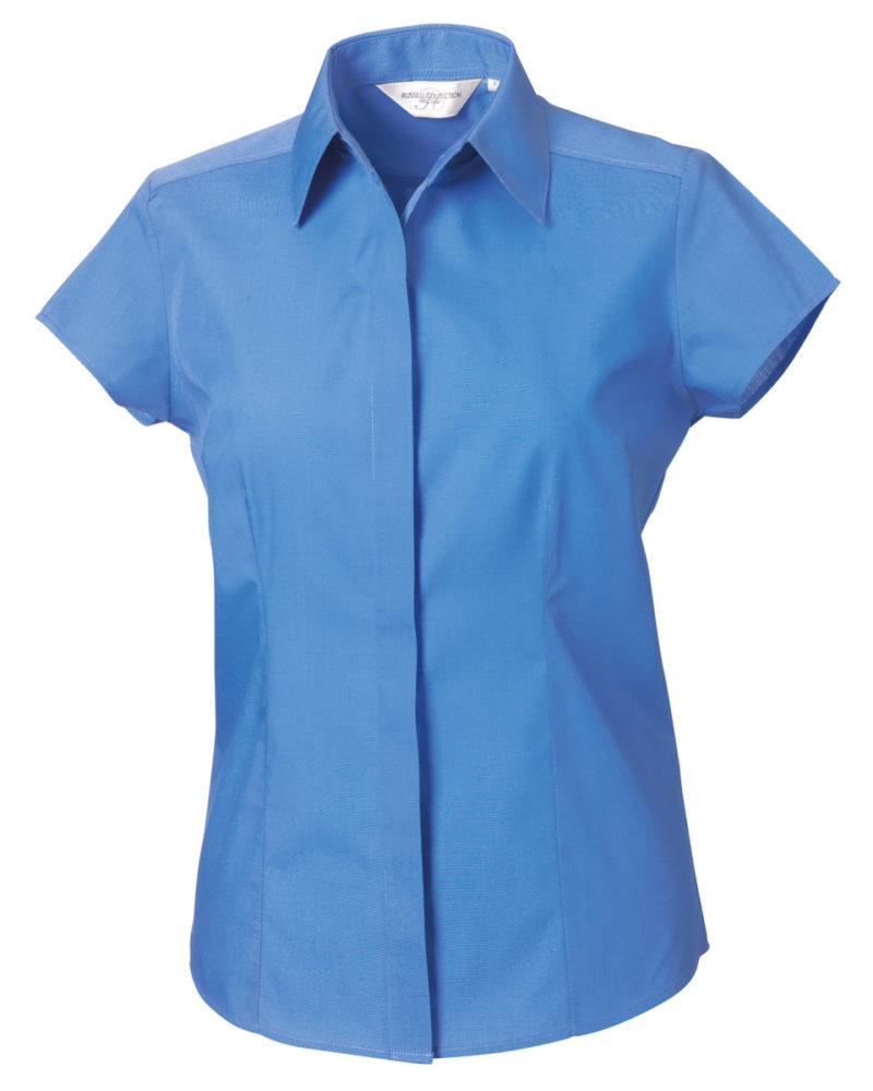 Russell Collection Ladies' Cap Sleeve Polycotton Easy Care Fitted Poplin Shirt (925F)