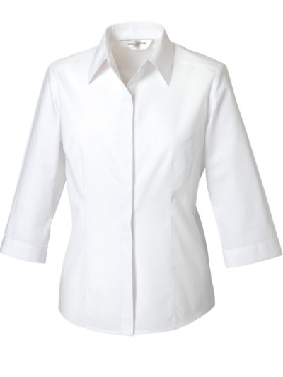 Russell Collection Ladies' 3/4 Sleeve Polycotton Easy Care Fitted Poplin Shirt (926F)