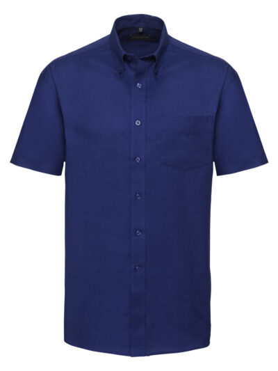 Russell Collection Men's Short Sleeve Easy Care Oxford Shirt Bright Royal