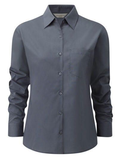 Russell Collection Ladies' Long Sleeve Polycotton Easy Care Poplin Shirt Convoy Grey