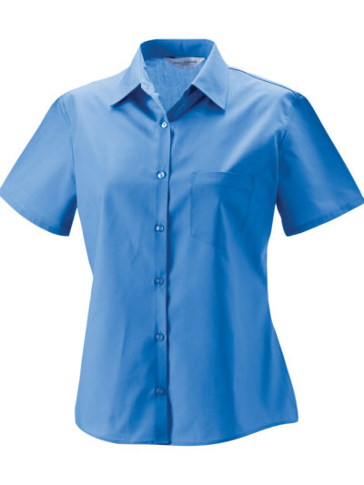 Russell Collection Ladies' Short Sleeve Polycotton Easy Care Poplin Shirt (935F)