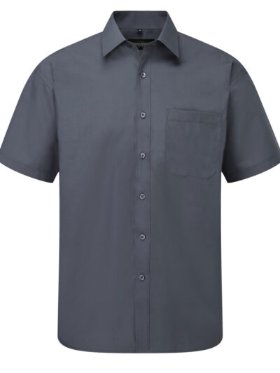 Russell Collection Men's Short Sleeve Polycotton Easy Care Poplin Shirt Convoy Grey