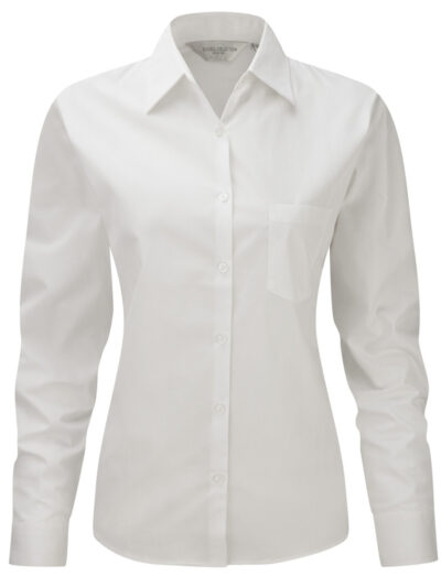 Russell Collection Ladies' Long Sleeve Pure Cotton Easy Care Poplin Shirt White