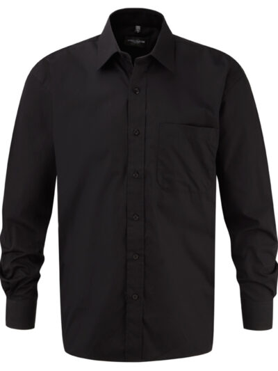 Russell Collection Men's Long Sleeve Pure Cotton Easy Care Poplin Shirt Black