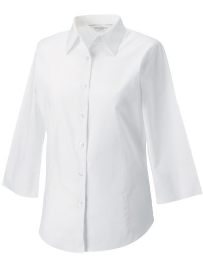 Russell Collection Ladies' 3/4 Sleeve Easy Care Fitted Shirt White
