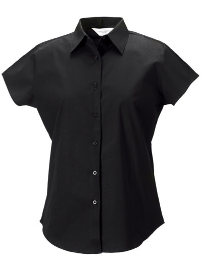 Russell Collection Ladies' Short Sleeve Easy Care Fitted Shirt Black
