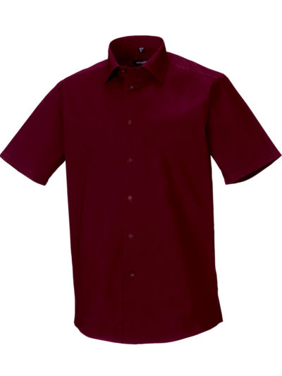 Russell Collection Men's Short Sleeve Easy Care Fitted Shirt Port