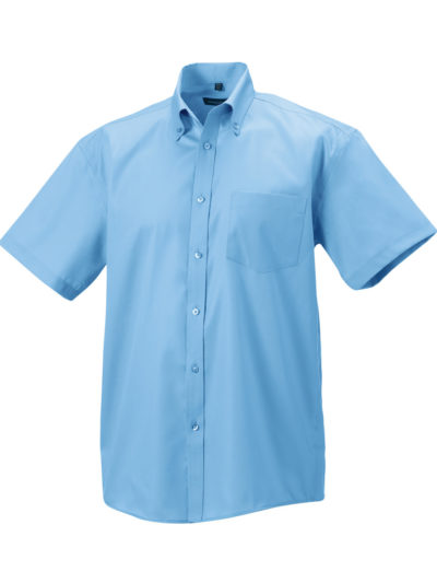 Russell Collection Men's Short Sleeve Ultimate Non-Iron Shirt Bright Sky