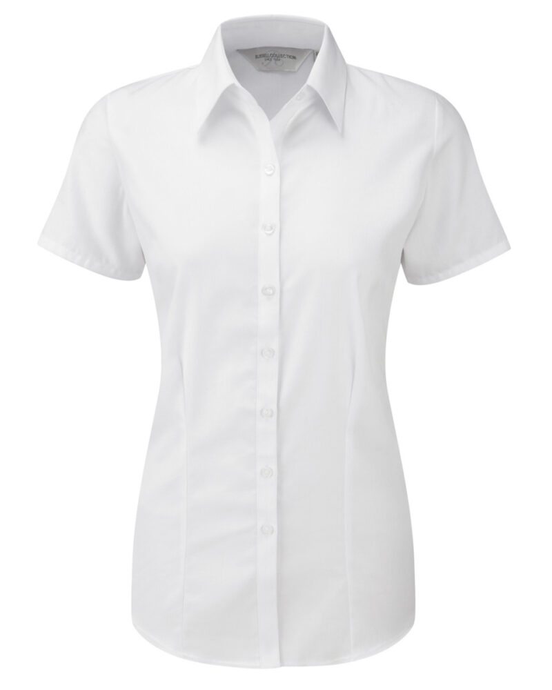 Russell Collection Ladies' Short Sleeve Herringbone Shirt White