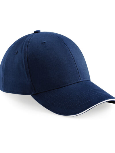 Beechfield Athleisure 6 Panel Cap French Navy and White