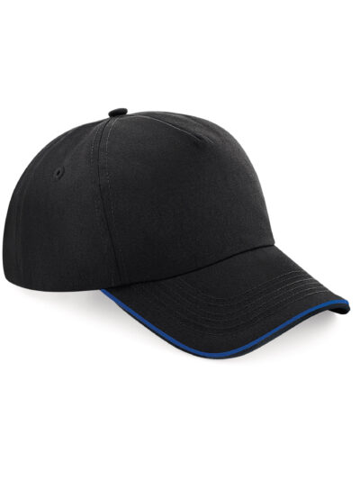 Beechfield Authentic 5 Panel Cap - Piped Peak Black and bright Royal