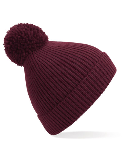 Beechfield Engineered Knit Ribbed Pom Pom Beanie Burgundy