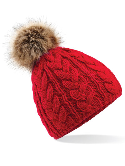 Beechfield Faux Fur Pom Pom Cable Beanie Classic Red