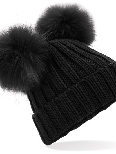 Beechfield Faux Fur Double Pop Pom Beanie Black