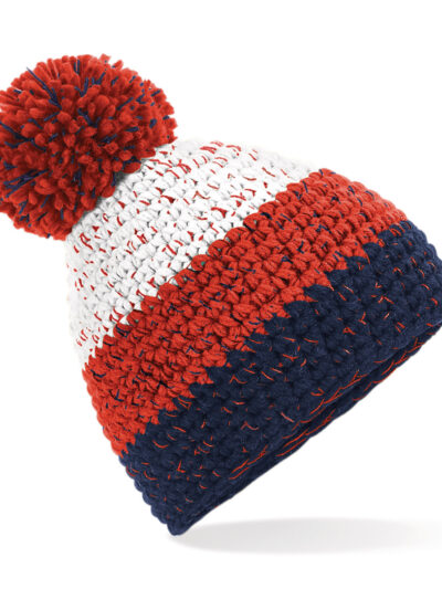 Beechfield Freestyle Beanie White and Fire Red and Oxford Navy