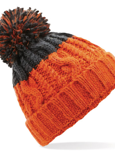 Beechfield Apres Beanie Orange and Graphite Grey