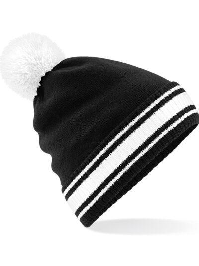 Beechfield Stadium Beanie Black and White