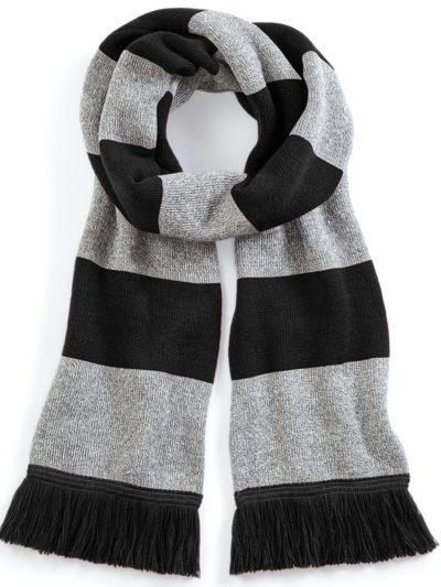 Beechfield Stadium Scarf Black and heather Grey