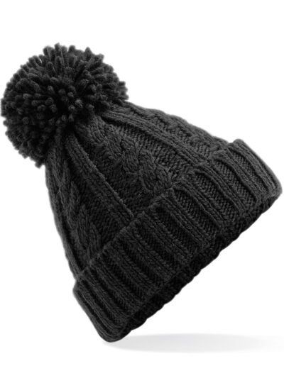 Beechfield Cable Knit Melange Beanie Black