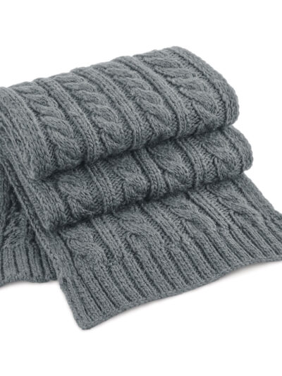 Beechfield Cable Knit Melange Scarf Light Grey