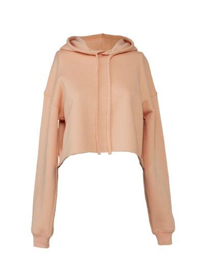 Bella Women's Cropped Fleece Hoodie Peach