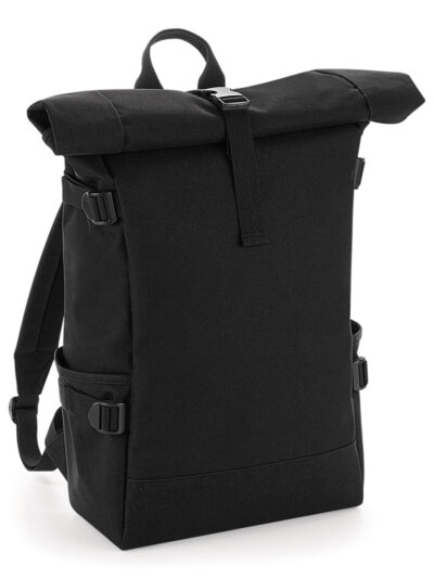 Bagbase Block Roll-Top Backpack Black and Black