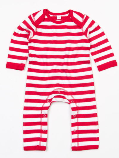 Babybugz Baby Stripy Rompasuit Red and White