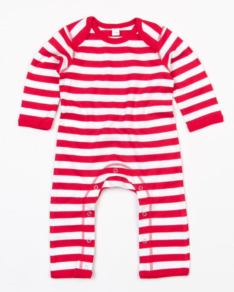 Babybugz Baby Stripy Rompasuit Red and White