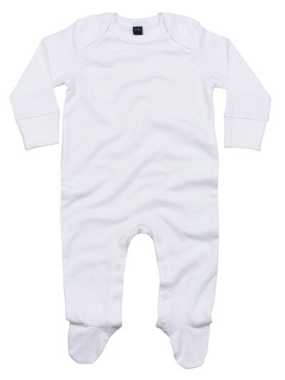 Babybugz Baby Organic Sleepsuit with Scratch Mitts White