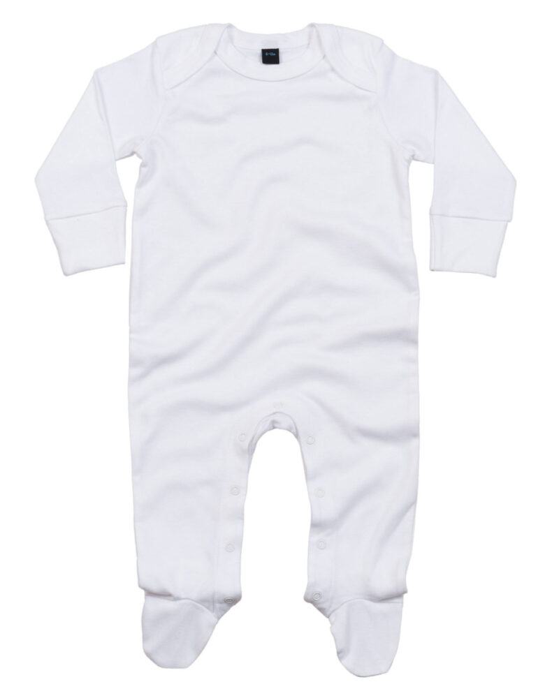 Babybugz Baby Organic Sleepsuit with Scratch Mitts White