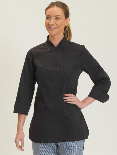 Dennys Ladies' Long Sleeve Fitted Chef's Jacket Black