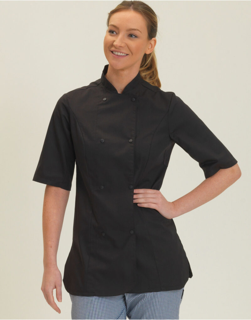 Dennys Ladies' Short Sleeve Fitted Chef's Jacket Black