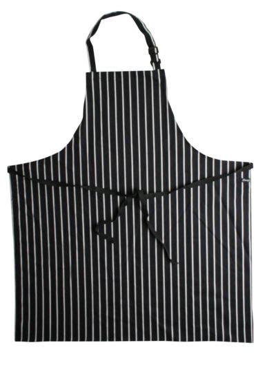 Dennys Large Cotton Striped Apron Black and White