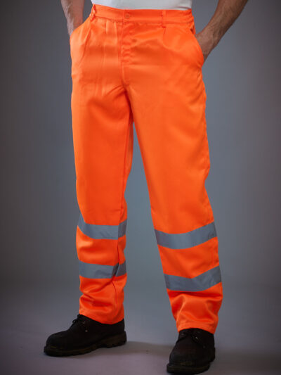 Yoko Hi-Vis Polycotton Work Trouser (Reg) Hi Vis Orange