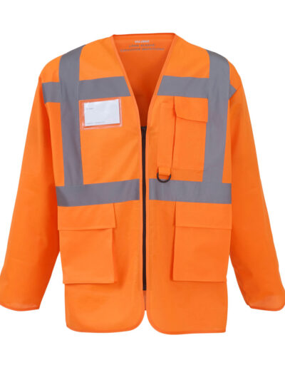 Yoko Hi-Vis Executive Long Sleeve Waistcoat Hi Vis Orange