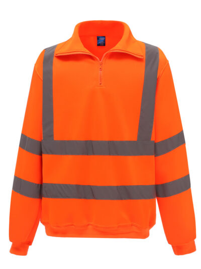 Yoko Hi-Vis 1/4 Zip Sweatshirt Hi Vis Orange