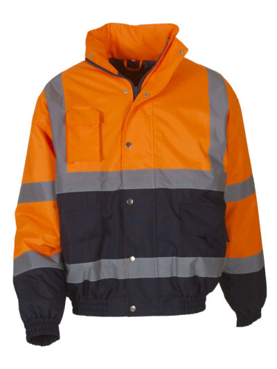 Yoko Hi-Vis 2 Tone Bomber Jacket Orange and Navy