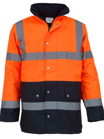 Yoko Hi-Vis Two Tone Motorway Jacket Hi Vis Orange and Navy