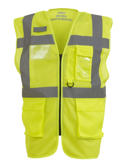 Yoko Hi-Vis Executive Open Mesh Waistcoat Hi-Vis Yellow