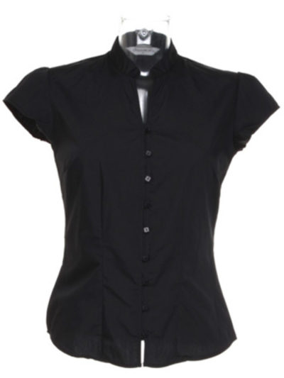 Ladies' Continental Blouse Mandarin Collar Cap Sleeve