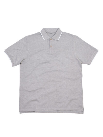 Mantis The Tipped Polo Heather Grey Melange and White