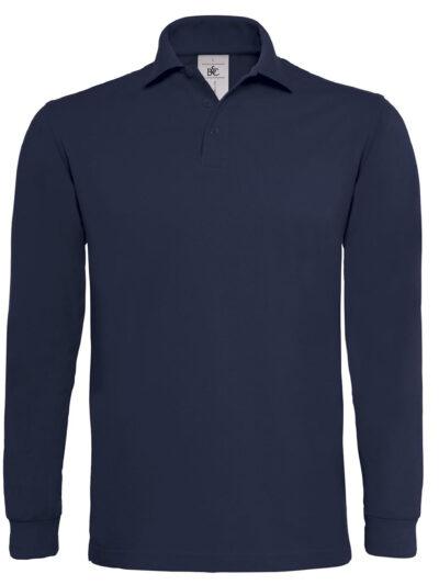 B&C Heavymill Long Sleeved Polo Shirt Navy Blue