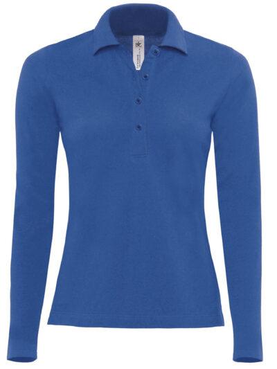 B&C Safran Pure Women's Long Sleeve Polo Royal Blue