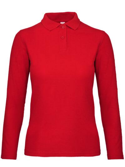B&C ID.001 Women's Long Sleeve Polo Red