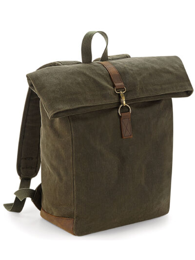 Quadra Heritage Waxed Canvas Backpack Olive Green